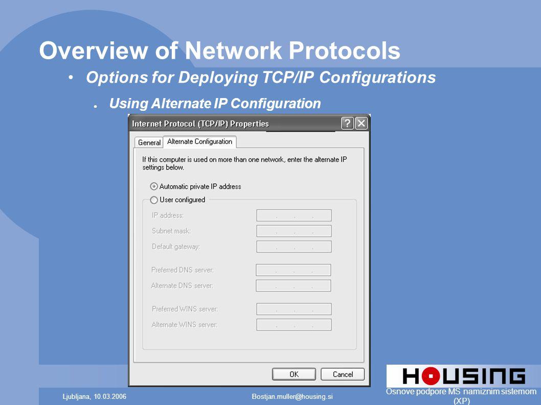 Bostjan.muller@housing.siLjubljana, 10.03.2006 Osnove podpore MS namiznim sistemom (XP) Overview of Network Protocols Options for Deploying TCP/IP Configurations ● Using Alternate IP Configuration