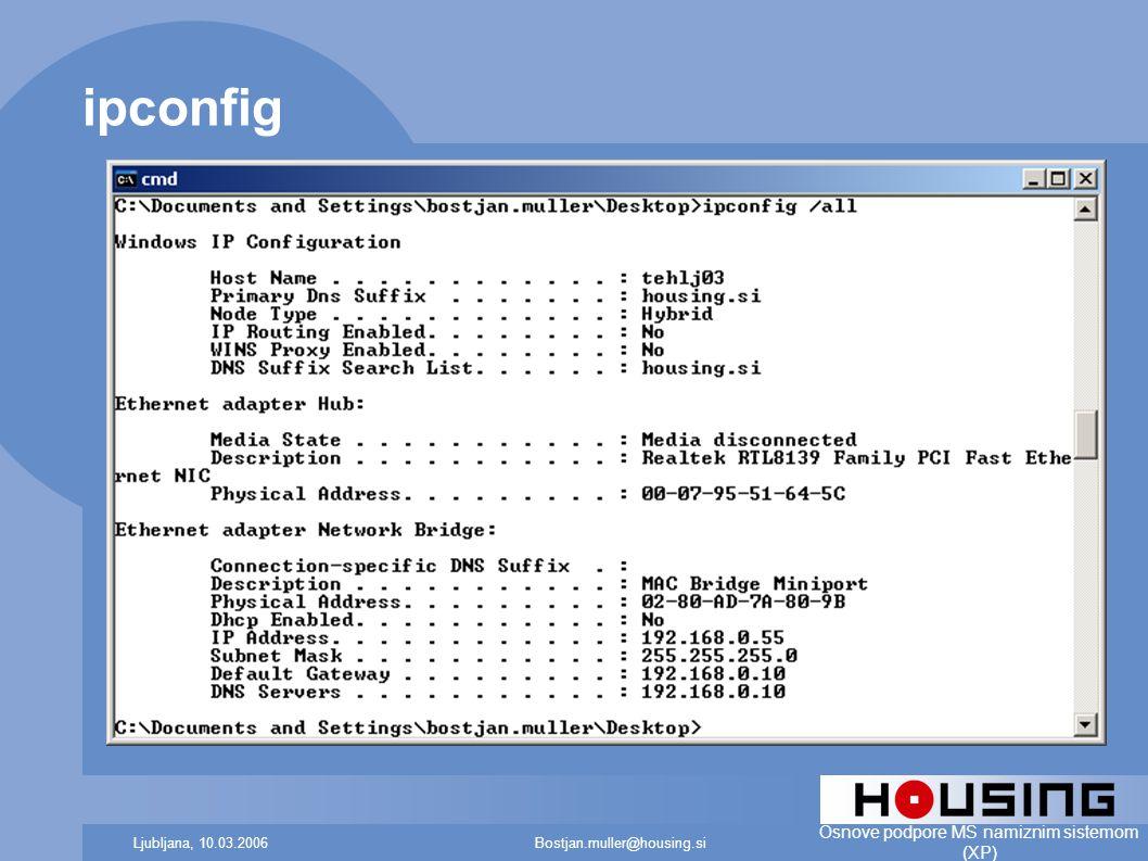 Bostjan.muller@housing.siLjubljana, 10.03.2006 Osnove podpore MS namiznim sistemom (XP) ipconfig