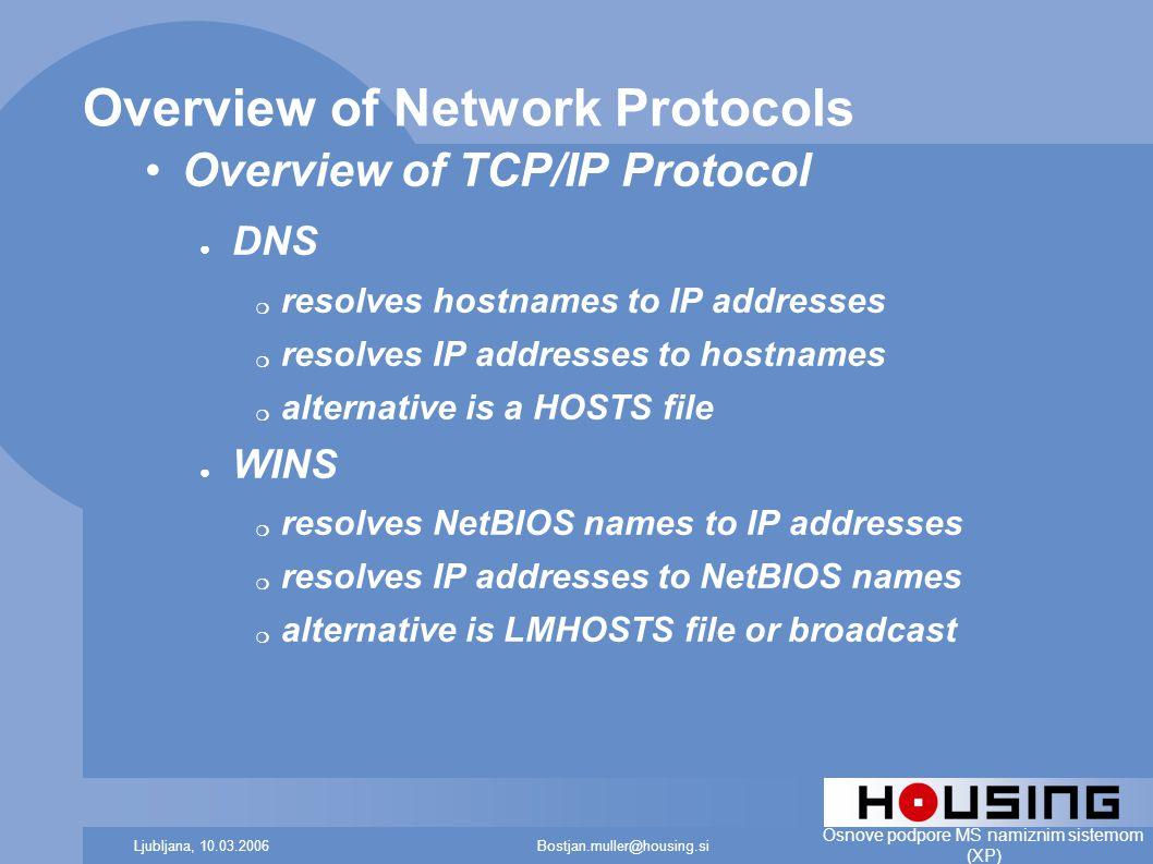 Bostjan.muller@housing.siLjubljana, 10.03.2006 Osnove podpore MS namiznim sistemom (XP) Overview of Network Protocols Overview of TCP/IP Protocol ● DNS ❍ resolves hostnames to IP addresses ❍ resolves IP addresses to hostnames ❍ alternative is a HOSTS file ● WINS ❍ resolves NetBIOS names to IP addresses ❍ resolves IP addresses to NetBIOS names ❍ alternative is LMHOSTS file or broadcast