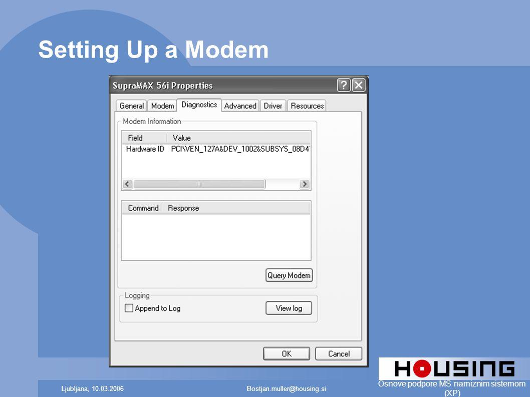 Bostjan.muller@housing.siLjubljana, 10.03.2006 Osnove podpore MS namiznim sistemom (XP) Setting Up a Modem