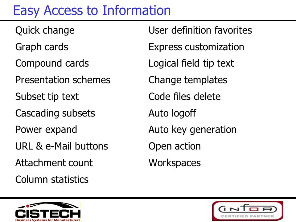 Quick change Graph cards Compound cards Presentation schemes Subset tip text Cascading subsets Power expand URL & e-Mail buttons Attachment count Colu