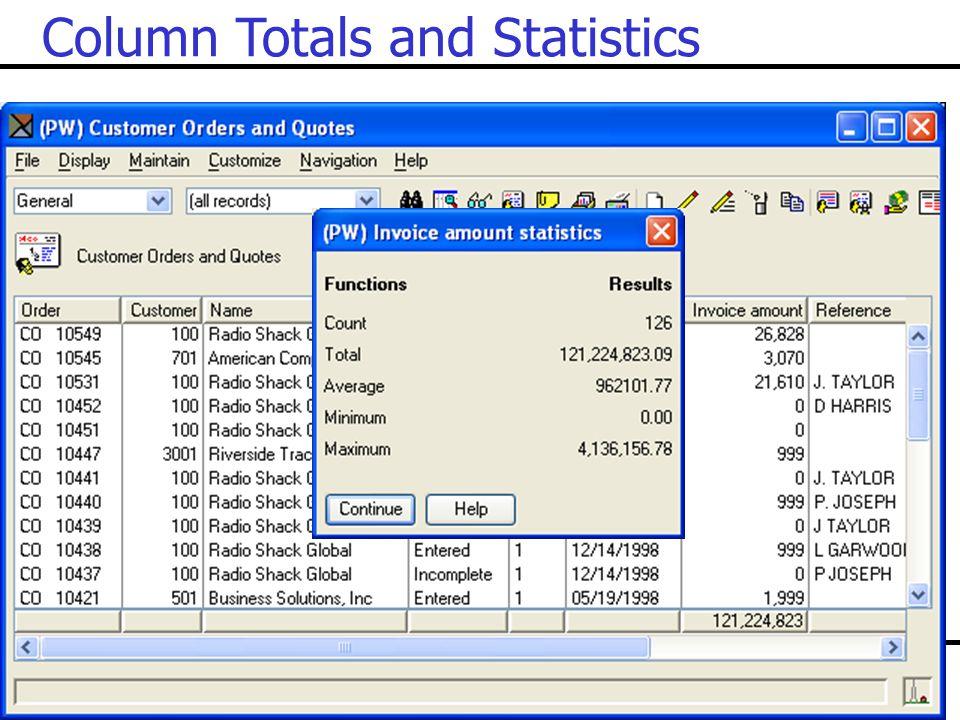 Column Totals and Statistics