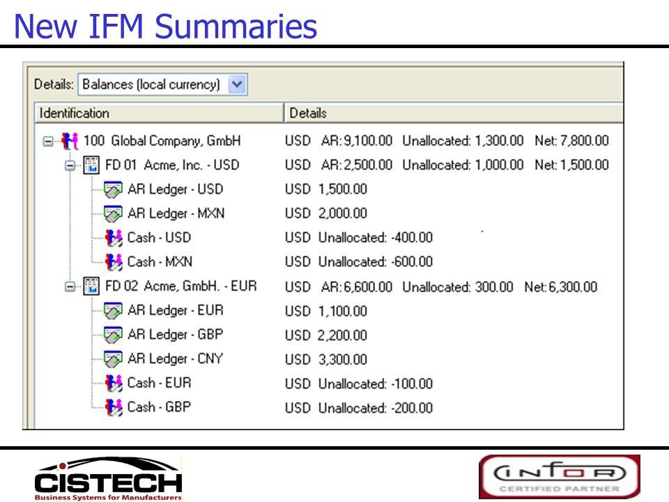 New IFM Summaries