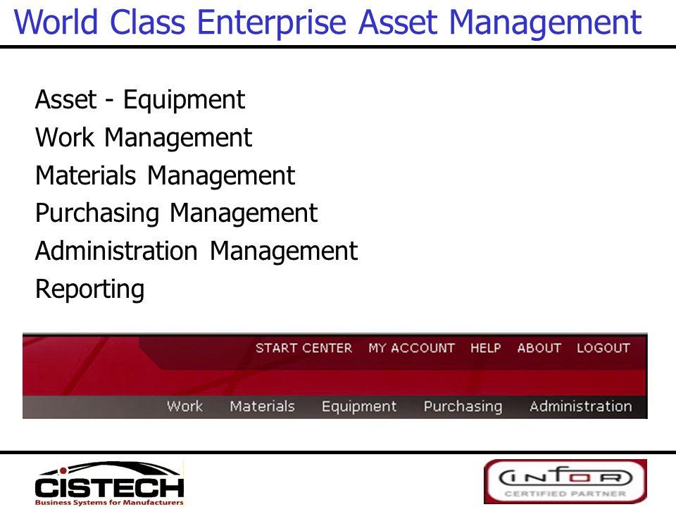 Asset - Equipment Work Management Materials Management Purchasing Management Administration Management Reporting World Class Enterprise Asset Manageme
