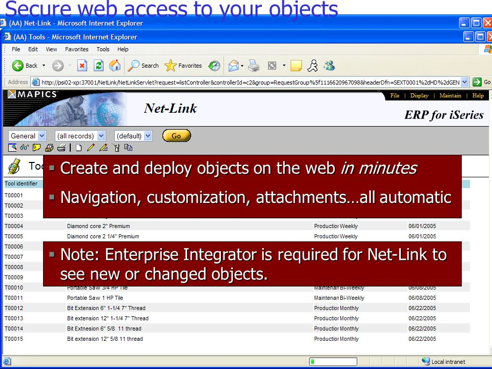  Create and deploy objects on the web in minutes  Navigation, customization, attachments…all automatic  Note: Enterprise Integrator is required for