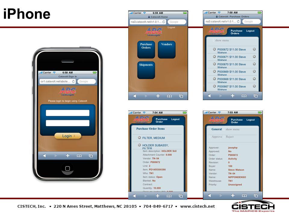CISTECH, Inc.  220 N Ames Street, Matthews, NC 28105  704-849-6717  www.cistech.net iPhone