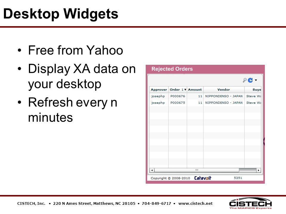 CISTECH, Inc.  220 N Ames Street, Matthews, NC 28105  704-849-6717  www.cistech.net Free from Yahoo Display XA data on your desktop Refresh every n