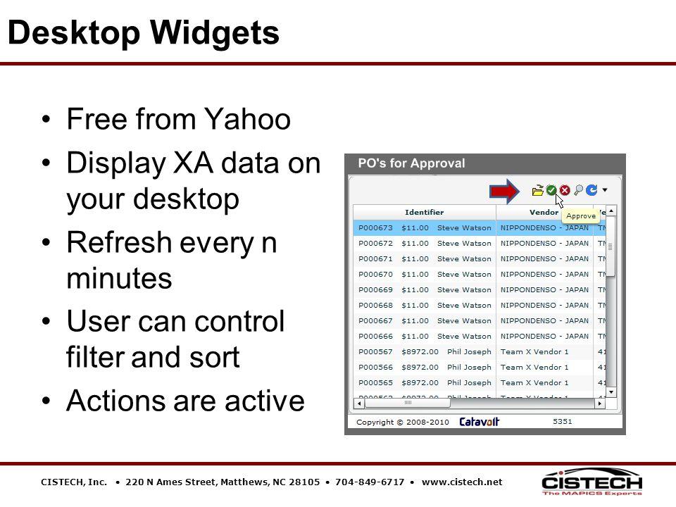 CISTECH, Inc.  220 N Ames Street, Matthews, NC 28105  704-849-6717  www.cistech.net Desktop Widgets Free from Yahoo Display XA data on your desktop