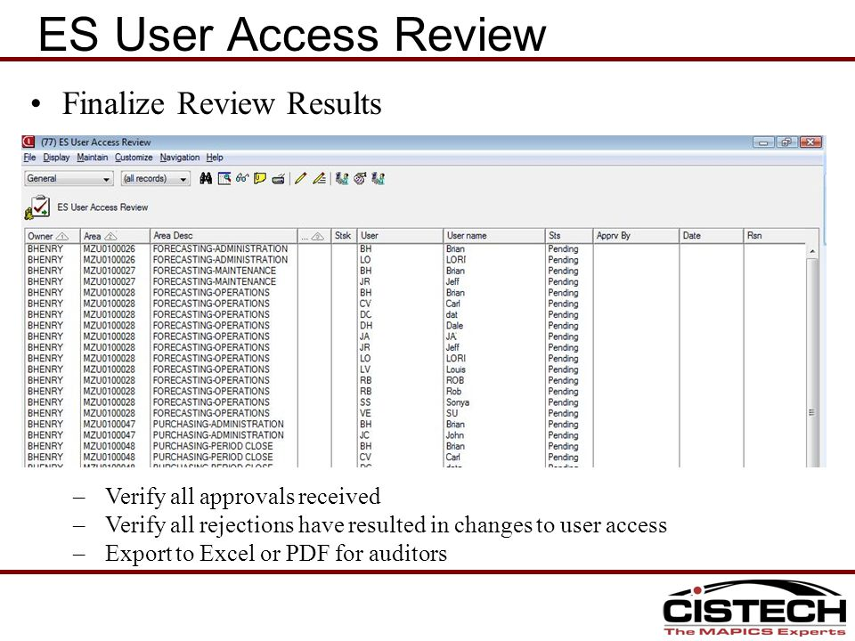 Finalize Review Results –Verify all approvals received –Verify all rejections have resulted in changes to user access –Export to Excel or PDF for auditors ES User Access Review