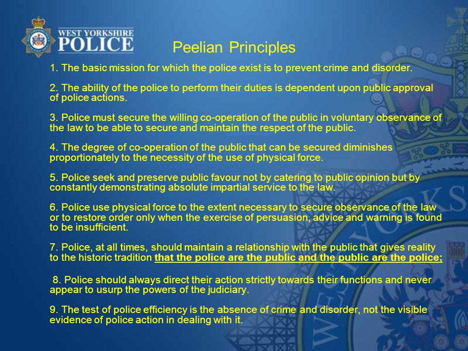 Further key principles of British policing Local control (not national force).