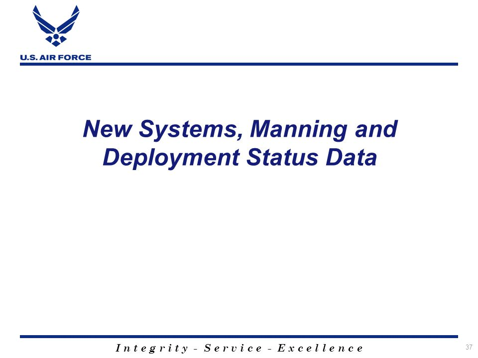 I n t e g r i t y - S e r v i c e - E x c e l l e n c e 37 New Systems, Manning and Deployment Status Data