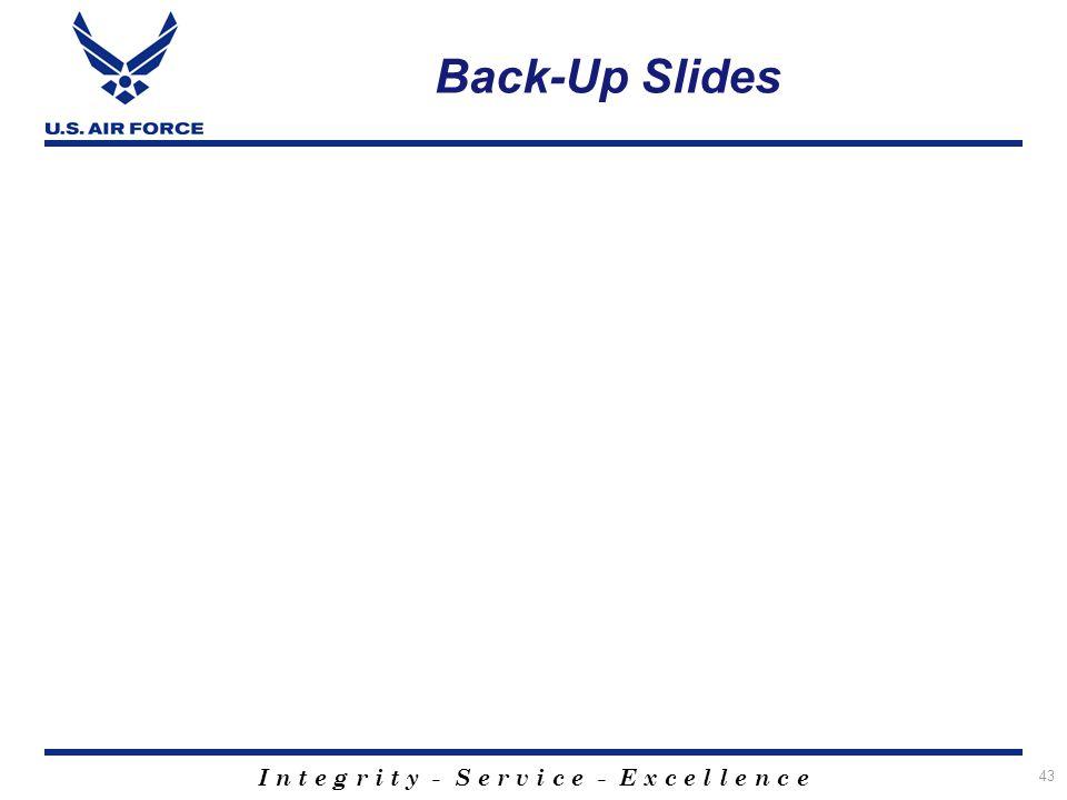 I n t e g r i t y - S e r v i c e - E x c e l l e n c e 43 Back-Up Slides