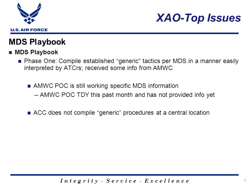 """I n t e g r i t y - S e r v i c e - E x c e l l e n c e 8 MDS Playbook Phase One: Compile established """"generic"""" tactics per MDS in a manner easily int"""