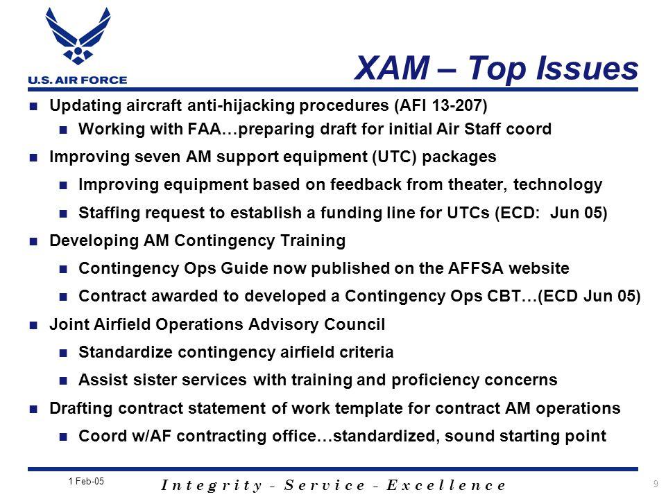 I n t e g r i t y - S e r v i c e - E x c e l l e n c e 9 Updating aircraft anti-hijacking procedures (AFI 13-207) Working with FAA…preparing draft fo