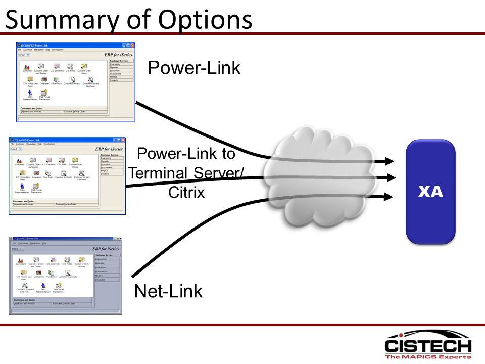 Summary of Options XA XAX Power-Link Power-Link to Terminal Server/ Citrix Net-Link