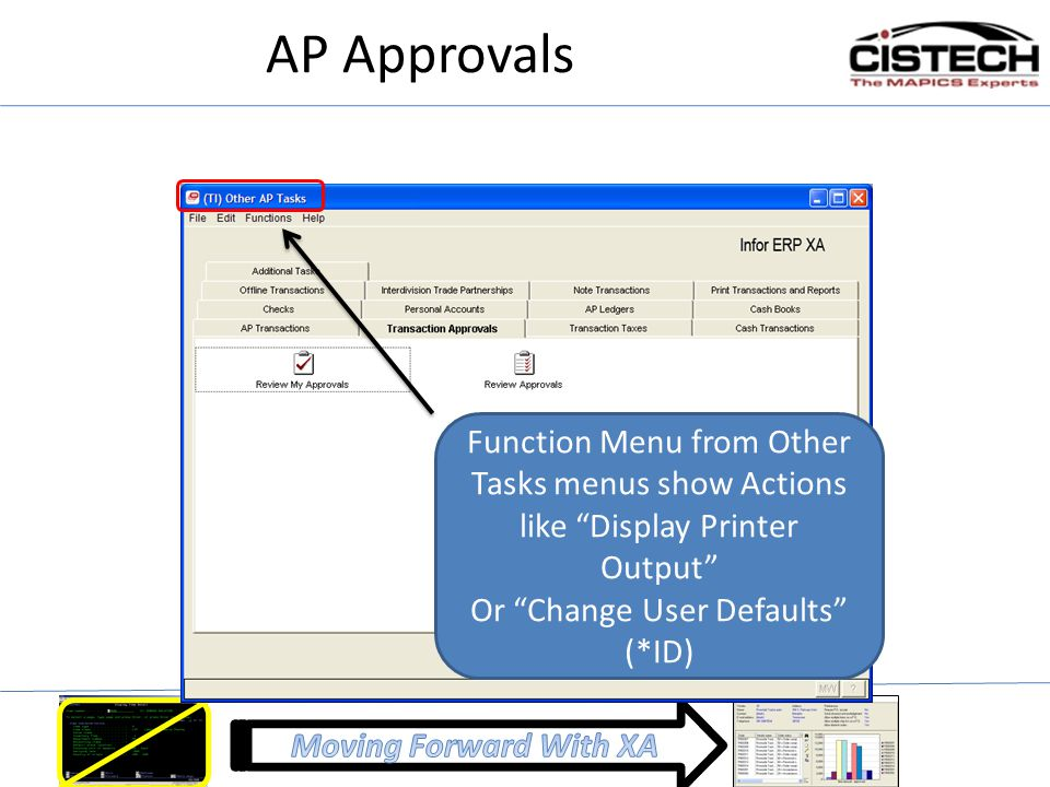 "AP Approvals Function Menu from Other Tasks menus show Actions like ""Display Printer Output"" Or ""Change User Defaults"" (*ID)"
