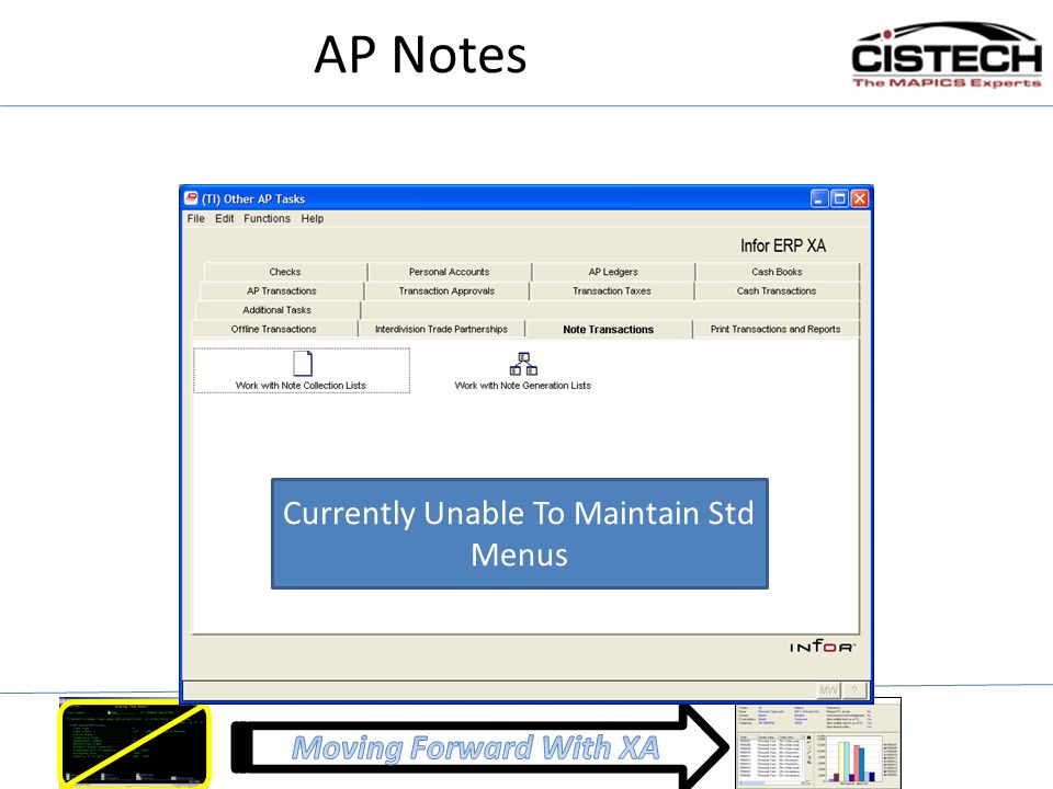 AP Notes Currently Unable To Maintain Std Menus