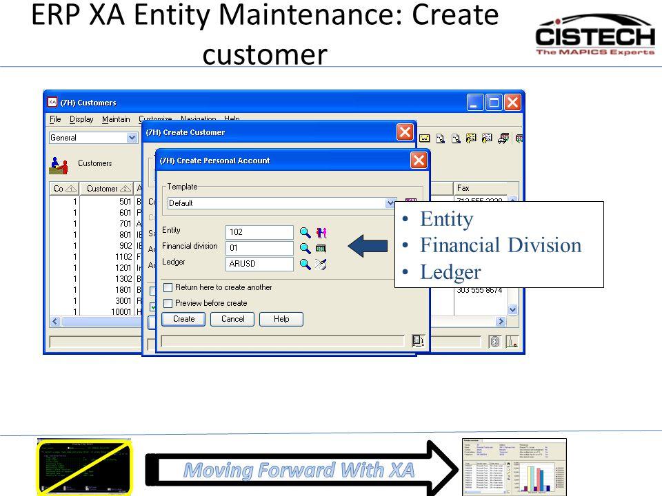 ERP XA Entity Maintenance: Create customer Entity Financial Division Ledger