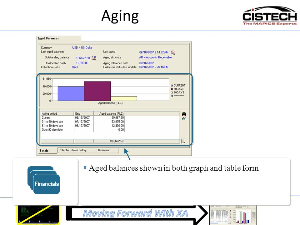 Aging  Aged balances shown in both graph and table form ERP Financials