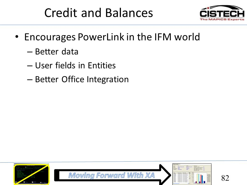 Credit and Balances Encourages PowerLink in the IFM world – Better data – User fields in Entities – Better Office Integration 82