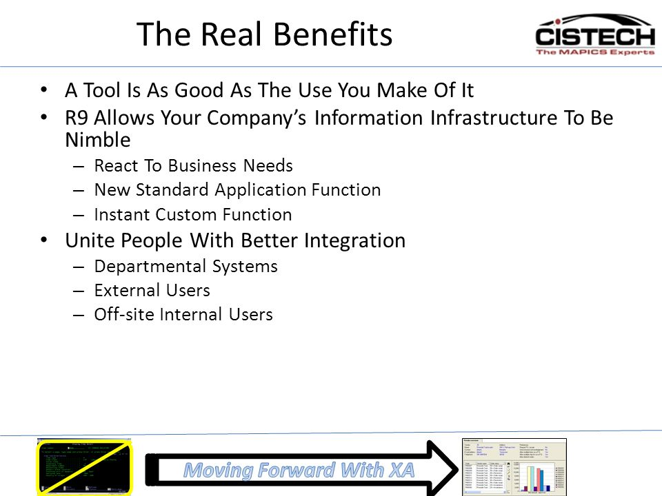 The Real Benefits A Tool Is As Good As The Use You Make Of It R9 Allows Your Company's Information Infrastructure To Be Nimble – React To Business Nee