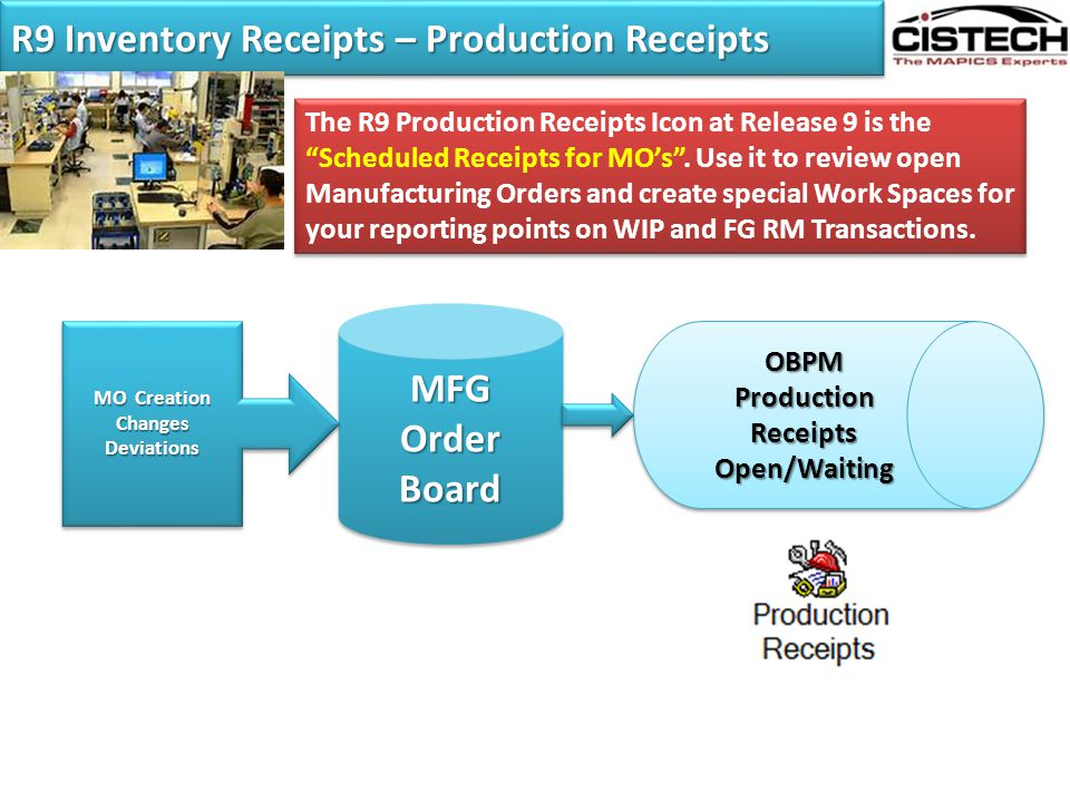 """R9 Inventory Receipts – Production Receipts The R9 Production Receipts Icon at Release 9 is the """"Scheduled Receipts for MO's"""". Use it to review open M"""