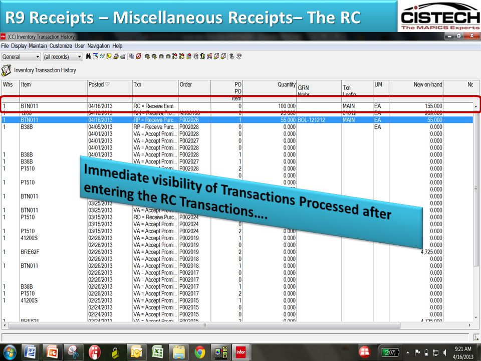 R9 Receipts – Miscellaneous Receipts– The RC Multiple Selection of Items Allowed