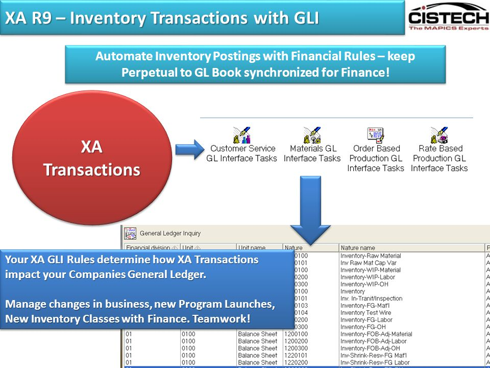 XA R9 – Inventory Transactions with GLI Automate Inventory Postings with Financial Rules – keep Perpetual to GL Book synchronized for Finance! XA Tran