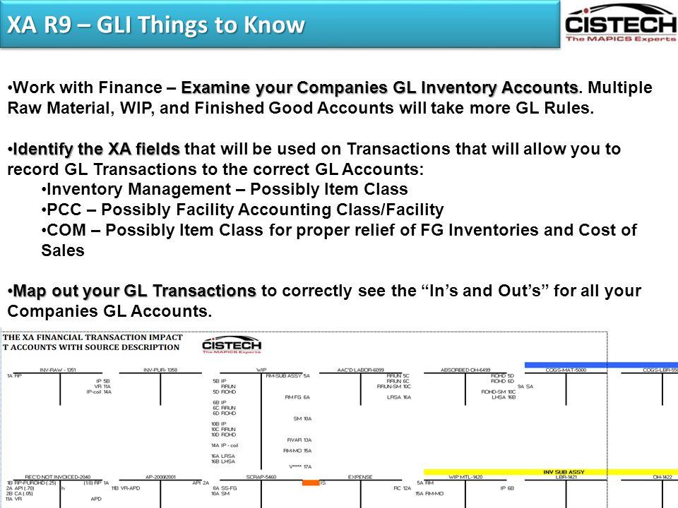 XA R9 – GLI Things to Know Examine your Companies GL Inventory AccountsWork with Finance – Examine your Companies GL Inventory Accounts. Multiple Raw