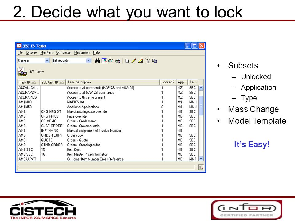 Subsets –Unlocked –Application –Type Mass Change Model Template It's Easy.