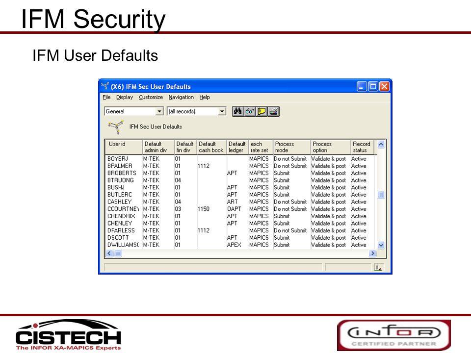 IFM Security IFM User Defaults