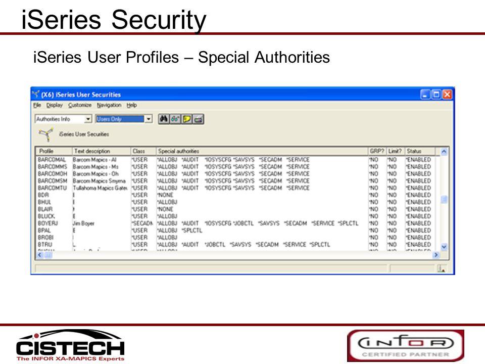 iSeries Security iSeries User Profiles – Special Authorities