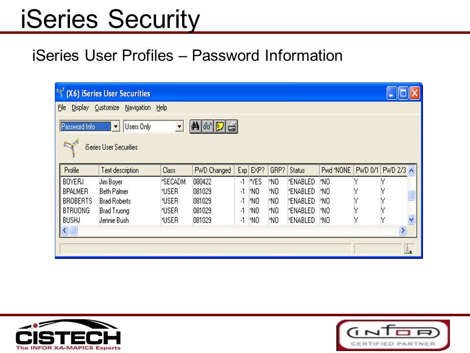 iSeries Security iSeries User Profiles – Password Information