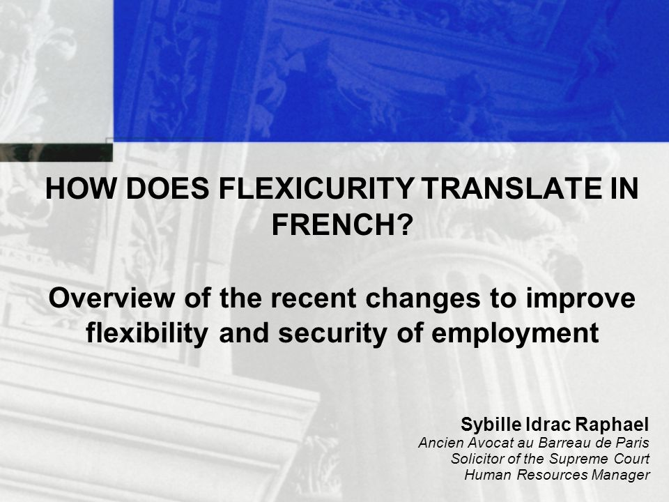 HOW DOES FLEXICURITY TRANSLATE IN FRENCH.
