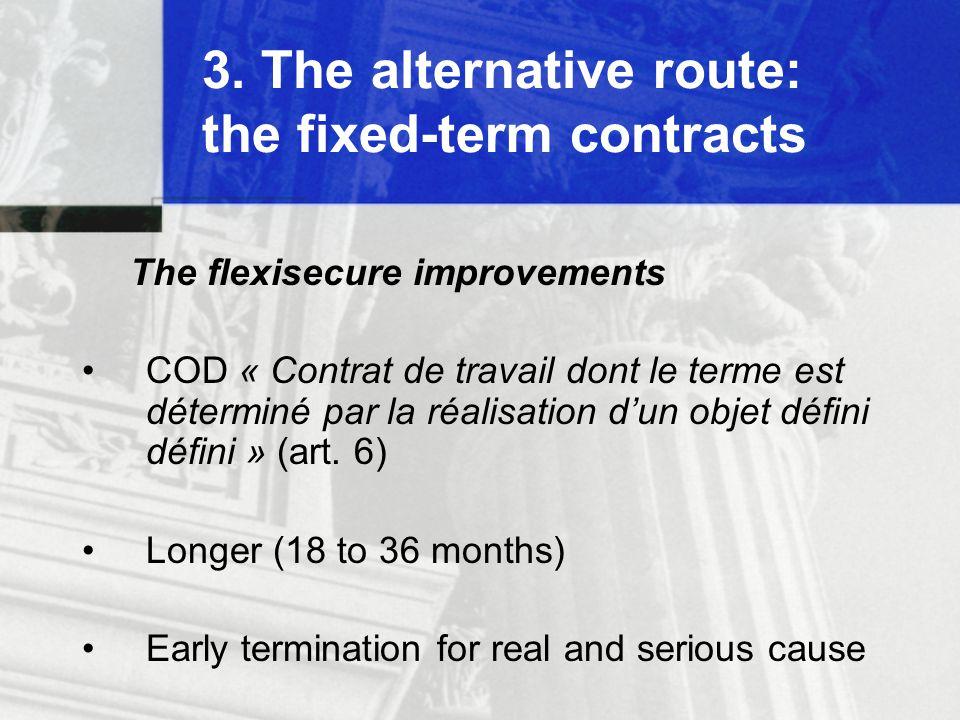 3. The alternative route: the fixed-term contracts The flexisecure improvements COD « Contrat de travail dont le terme est déterminé par la réalisatio