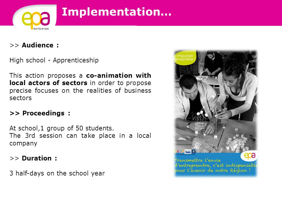 >> Audience : High school - Apprenticeship This action proposes a co-animation with local actors of sectors in order to propose precise focuses on the realities of business sectors >> Proceedings : At school,1 group of 50 students.