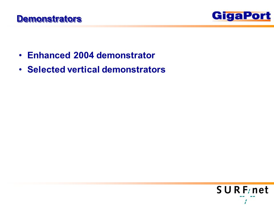 DemonstratorsDemonstrators Enhanced 2004 demonstrator Selected vertical demonstrators