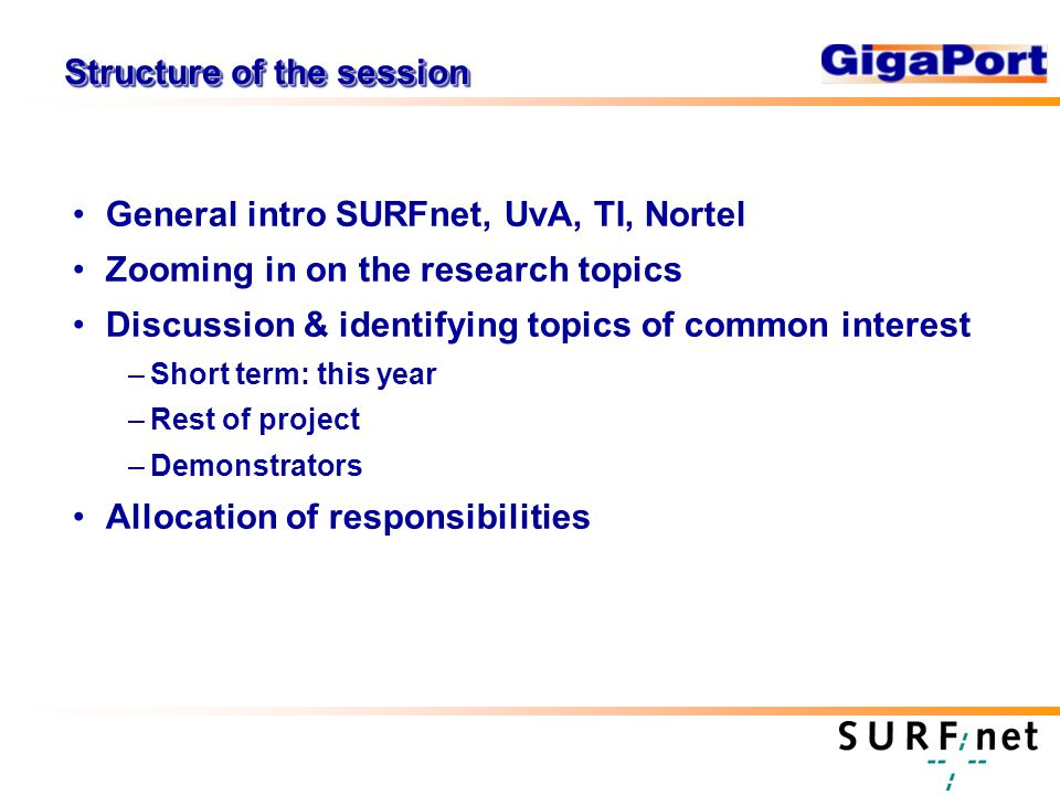 Structure of the session General intro SURFnet, UvA, TI, Nortel Zooming in on the research topics Discussion & identifying topics of common interest –Short term: this year –Rest of project –Demonstrators Allocation of responsibilities