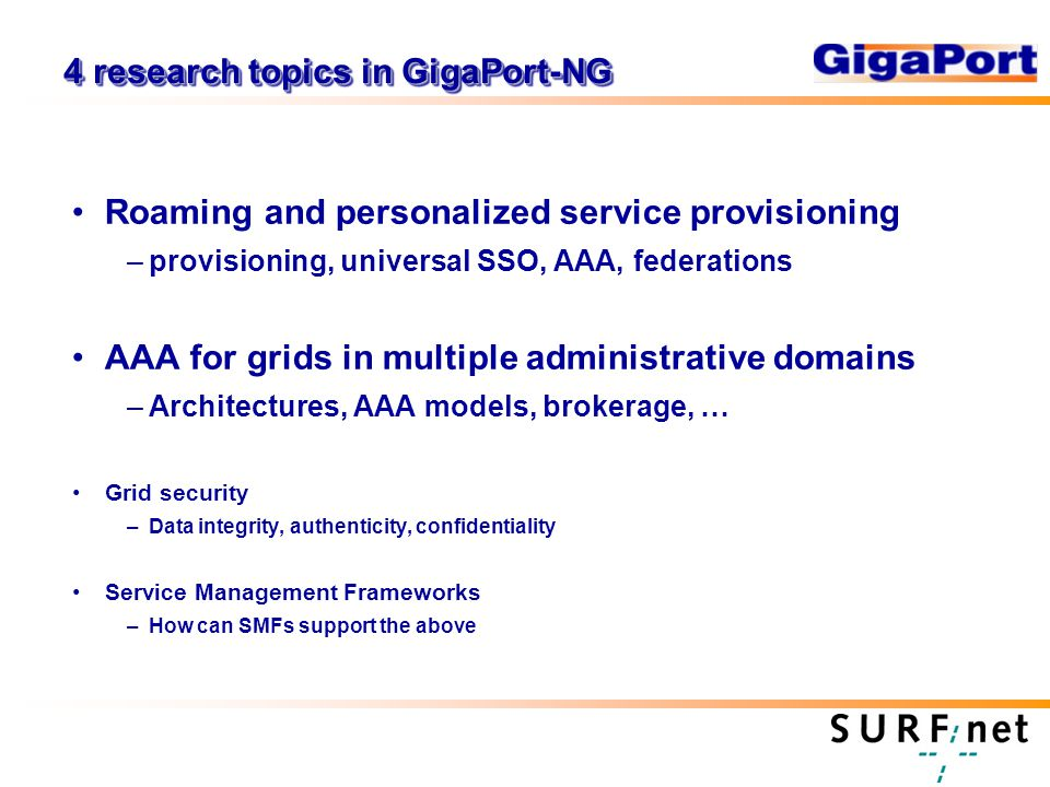 4 research topics in GigaPort-NG Roaming and personalized service provisioning –provisioning, universal SSO, AAA, federations AAA for grids in multiple administrative domains –Architectures, AAA models, brokerage, … Grid security –Data integrity, authenticity, confidentiality Service Management Frameworks –How can SMFs support the above