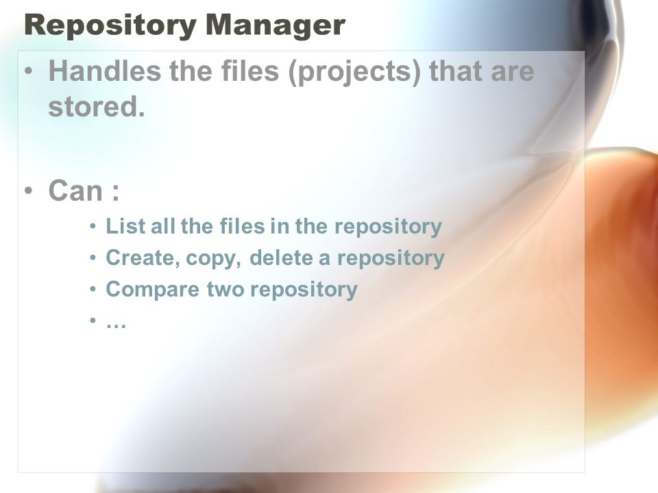 Repository Manager Handles the files (projects) that are stored.
