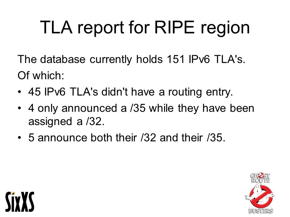 TLA report for RIPE region The database currently holds 151 IPv6 TLA s.