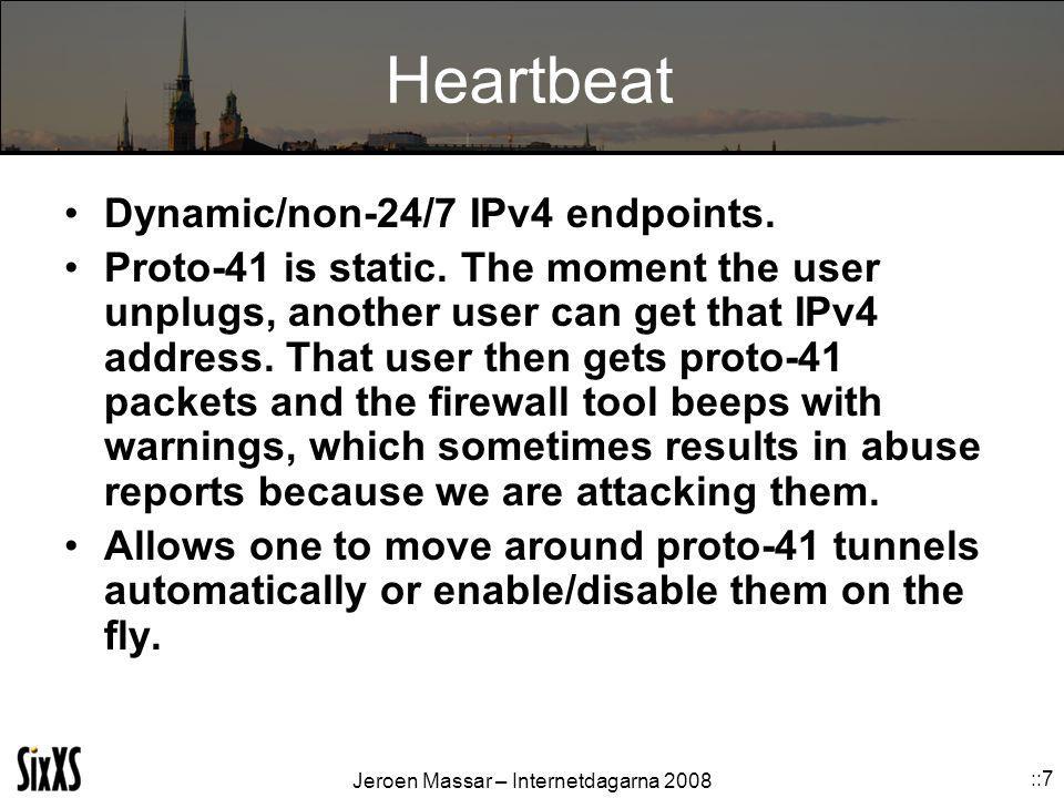 Jeroen Massar – Internetdagarna 2008 ::7 Heartbeat Dynamic/non-24/7 IPv4 endpoints.
