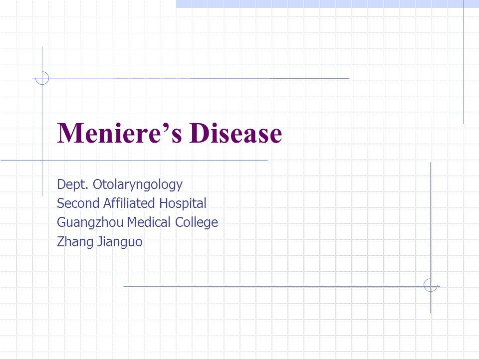 Meniere's Disease Dept.