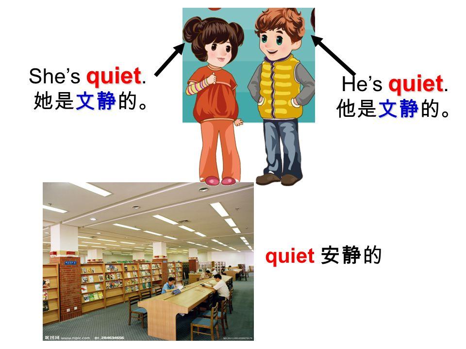 quiet She's quiet. 文静 她是文静的。 quiet He's quiet. 文静 他是文静的。 quiet 安静的