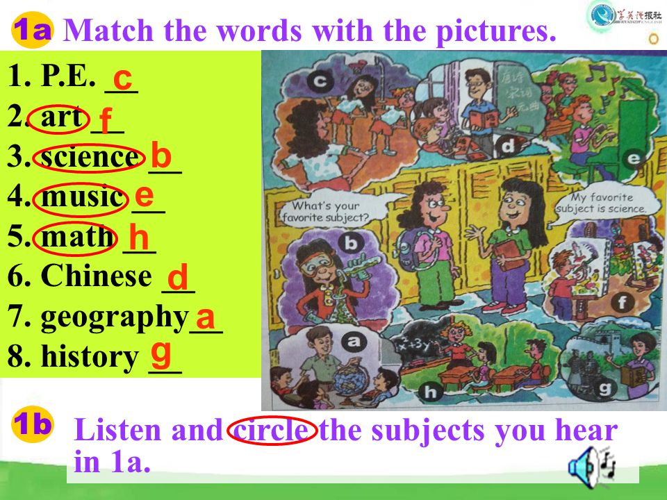 1a Match the words with the pictures. 1. P.E. __ 2. art __ 3. science __ 4. music __ 5. math __ 6. Chinese __ 7. geography__ 8. history __ c d b f e h