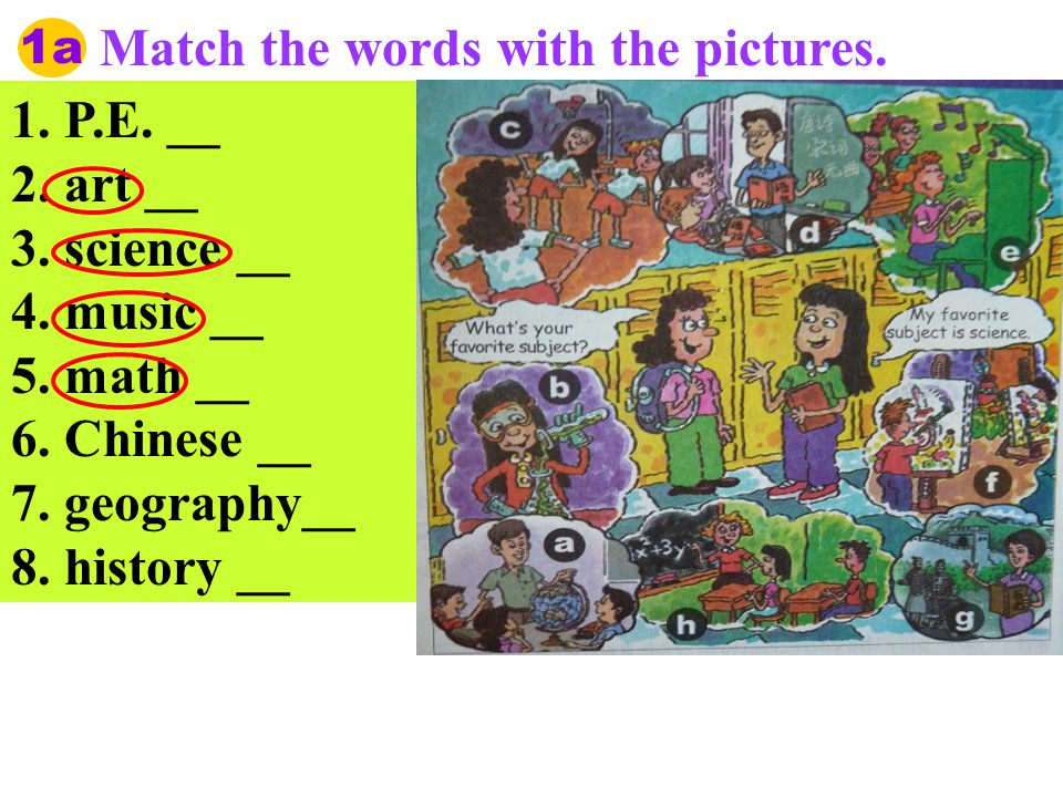 1a Match the words with the pictures. 1. P.E. __ 2.