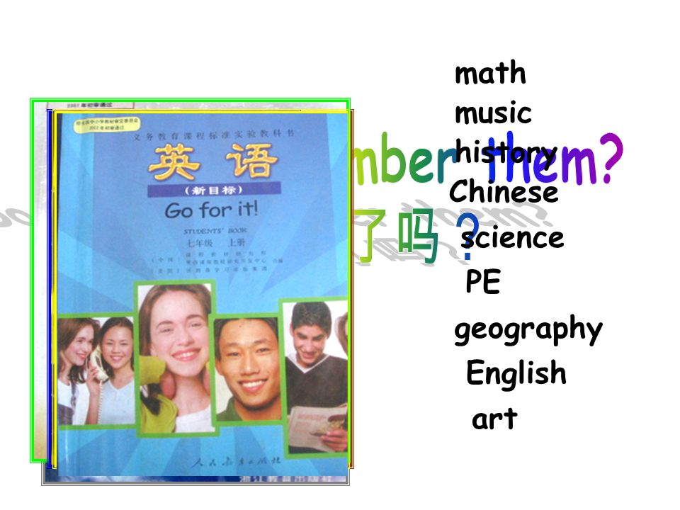 math music history Chinese science PE geography English art