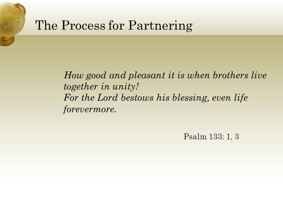 The Process for Partnering How good and pleasant it is when brothers live together in unity.