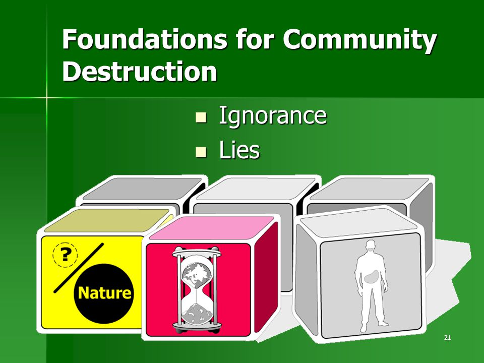 21 Foundations for Community Destruction Ignorance Ignorance Lies Lies