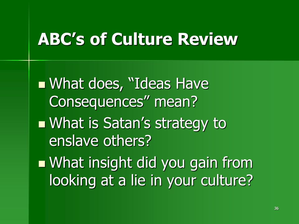 "36 ABC's of Culture Review What does, ""Ideas Have Consequences"" mean? What does, ""Ideas Have Consequences"" mean? What is Satan's strategy to enslave o"